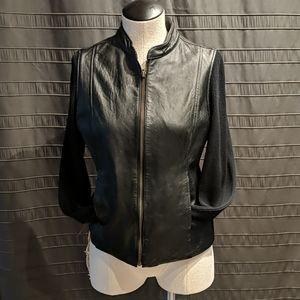 EUC Jaclyn Smith Leather Knit Zip Sweater Jacket